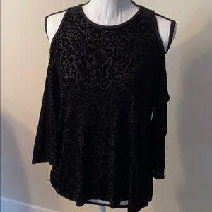 Francescas velvet cold shoulder blouse